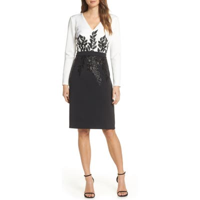 Tadashi Shoji Beaded Long Sleeve Cocktail Dress, Black