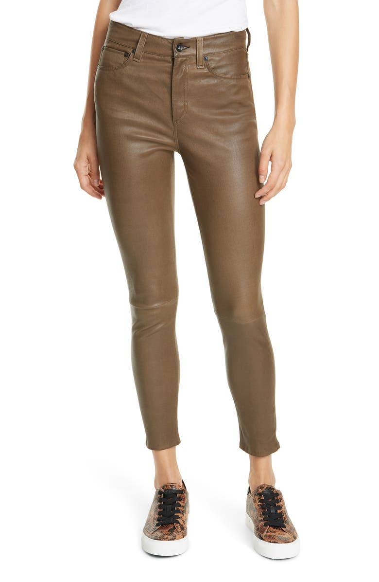 RAG & BONE Nina High Waist Ankle Skinny Leather Pants, Main, color, ARMY LEATHER