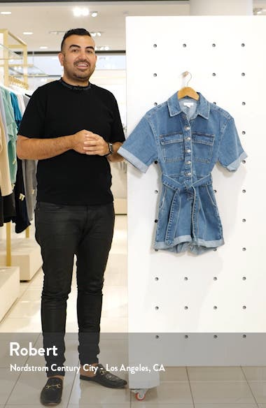 Denim Button-Down Romper, sales video thumbnail