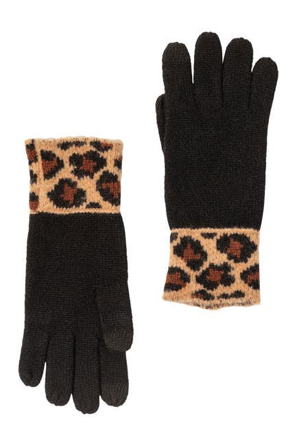 Image of AMICALE Cashmere Touch Screen Knit Glove with Cheetah Print Cuffs
