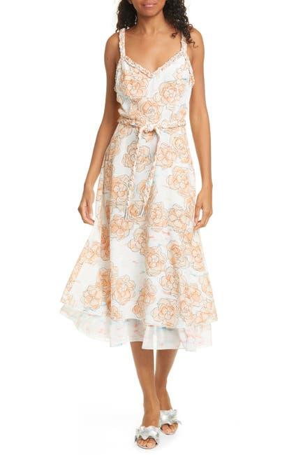 Image of Dyvna Chacha Floral Braided Strap Silk Midi Dress