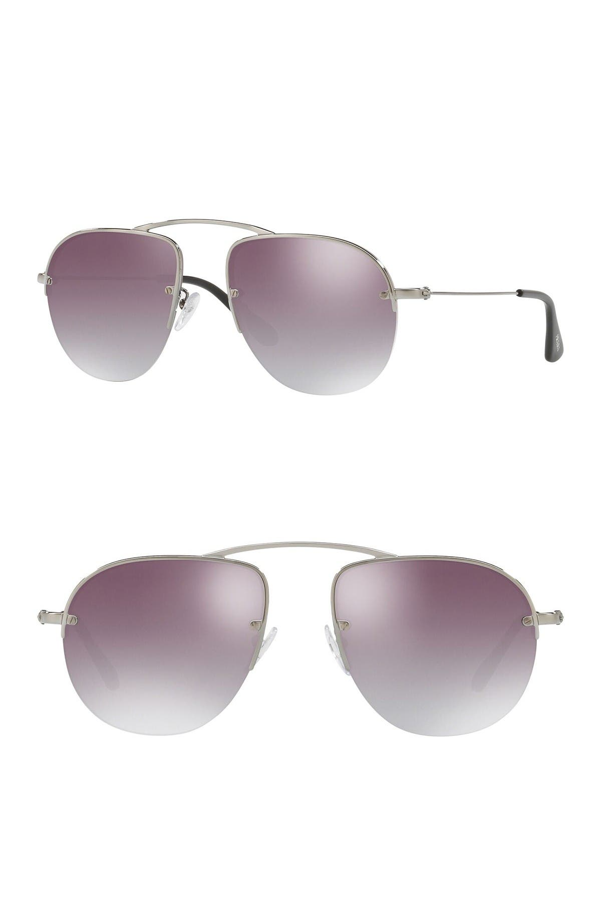 Image of Prada 59mm Pilot Sunglasses
