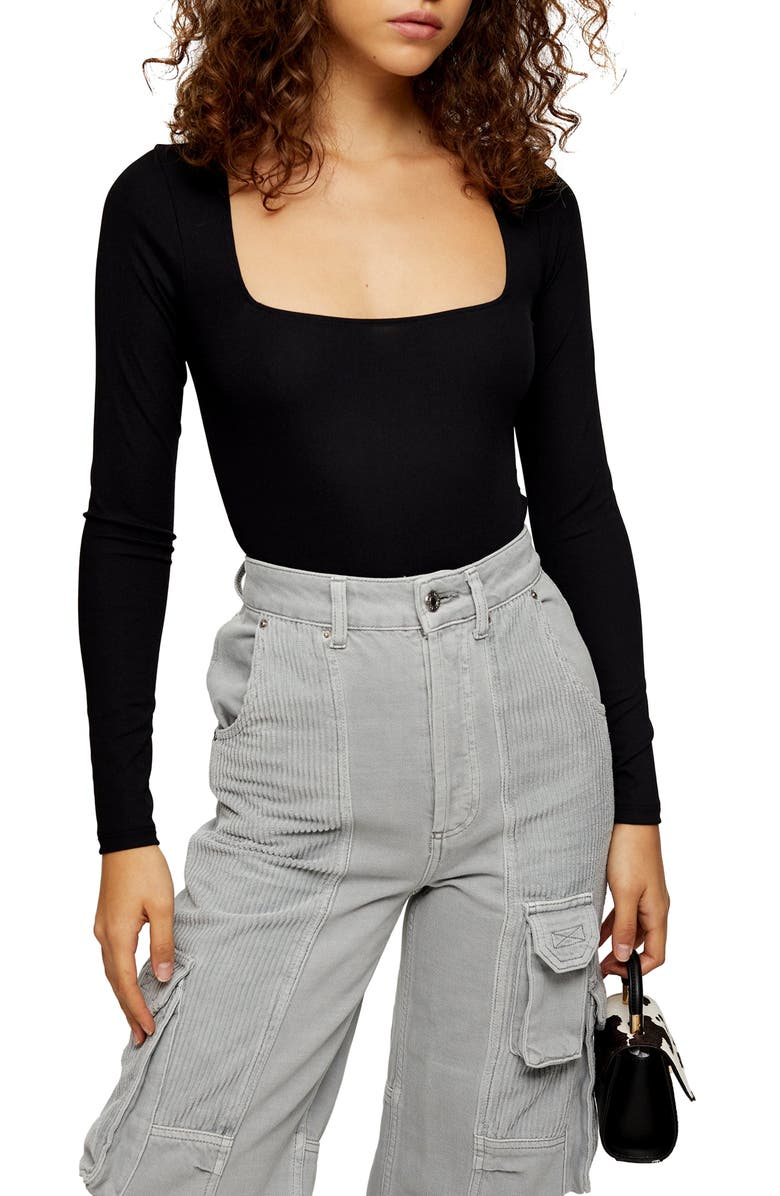 TOPSHOP Long Sleeve Square Neck Bodysuit, Main, color, 001