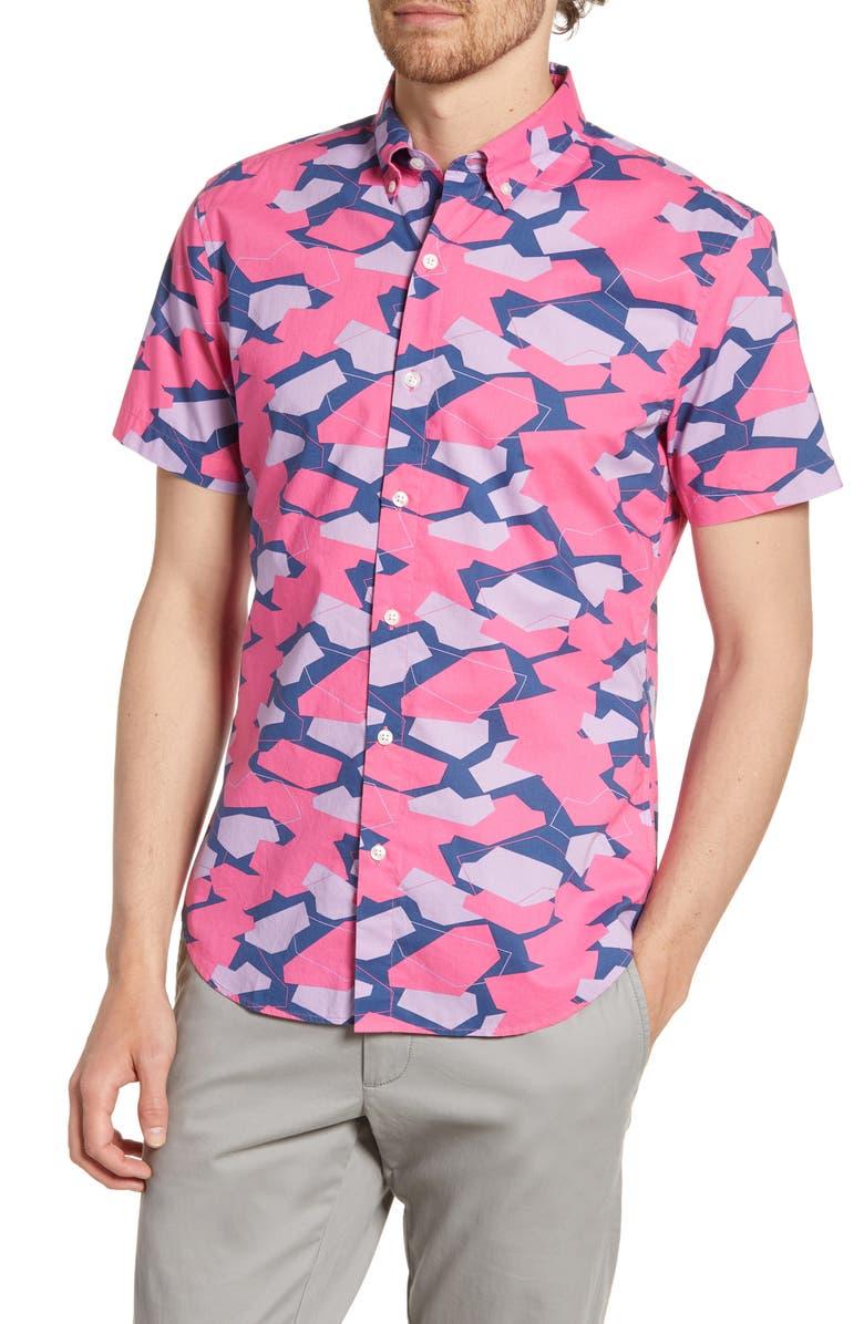 BONOBOS Riviera Slim Fit Geo Print Short Sleeve Button-Down Shirt, Main, color, GEO RUN