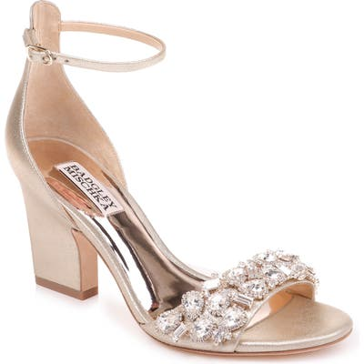 Badgley Mischka Laraine Embellished Ankle Strap Sandal, Metallic