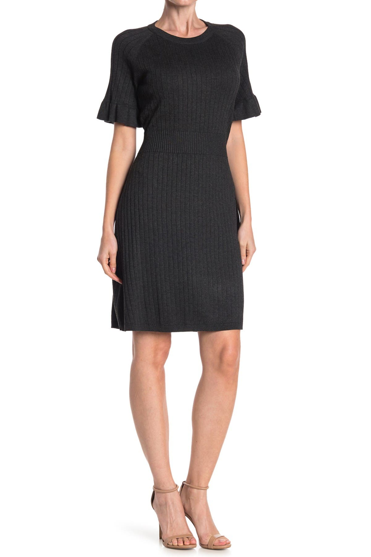 Image of Calvin Klein Ribbed Ruffle Sleeve Sweater Dress