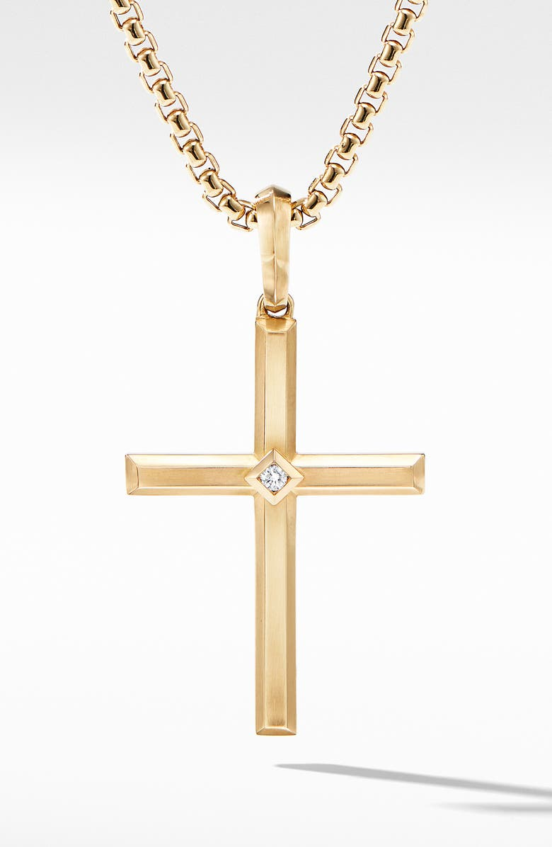 DAVID YURMAN Modern Renaissance Cross Pendant in 18K Yellow Gold with Center Diamond, Main, color, YELLOW GOLD/ DIAMOND
