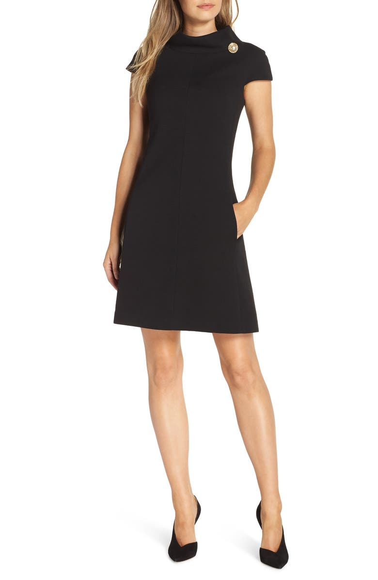 HARPER ROSE Stand Collar A-Line Dress, Main, color, BLACK