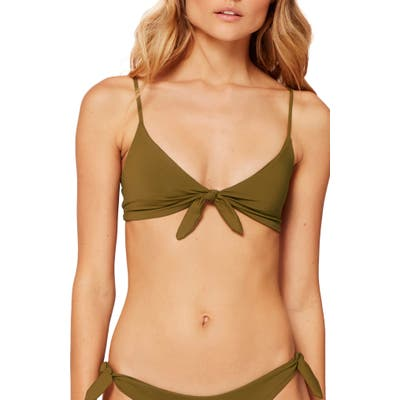 L Space Flash Back Knot Front Bikini Top, Size DD - Green