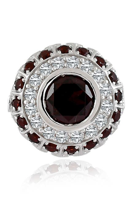 Image of Forever Creations USA Inc. Sterling Silver Red Garnet & Pave CZ Halo Ring