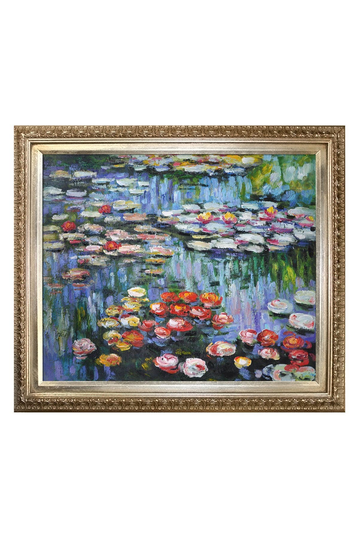 Image of Overstock Art Claude Monet Water Lilies Framed Hand Painted Oil on Canvas