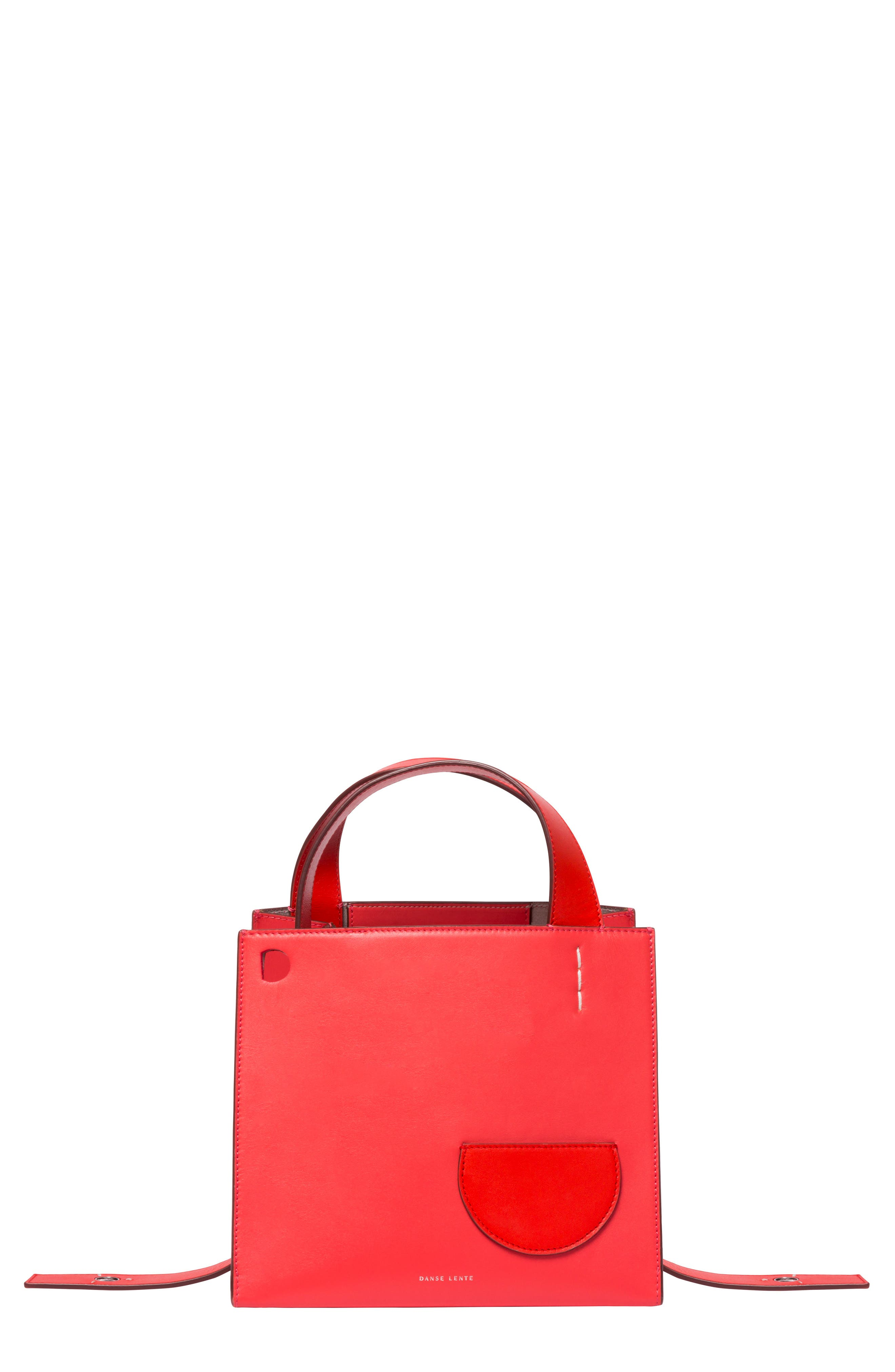 Margot Leather & Genuine Shearling Tote Bag, Main, color, CORAL