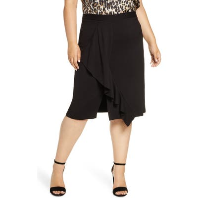 Plus Size Gibson X Fall Refresh Fancy Ashley Ruffle Slit Skirt, Black (Plus Size) (Nordstrom Exclusive)
