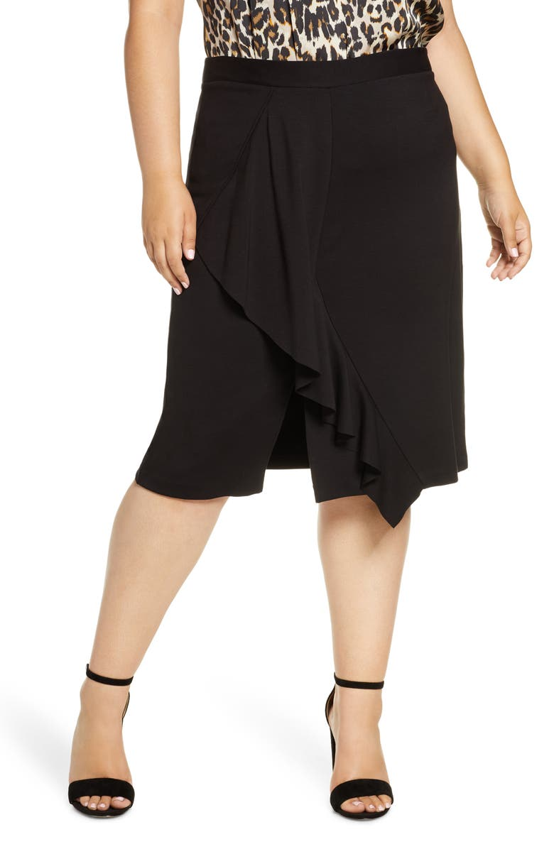 GIBSON x Fall Refresh Fancy Ashley Ruffle Slit Skirt, Main, color, BLACK