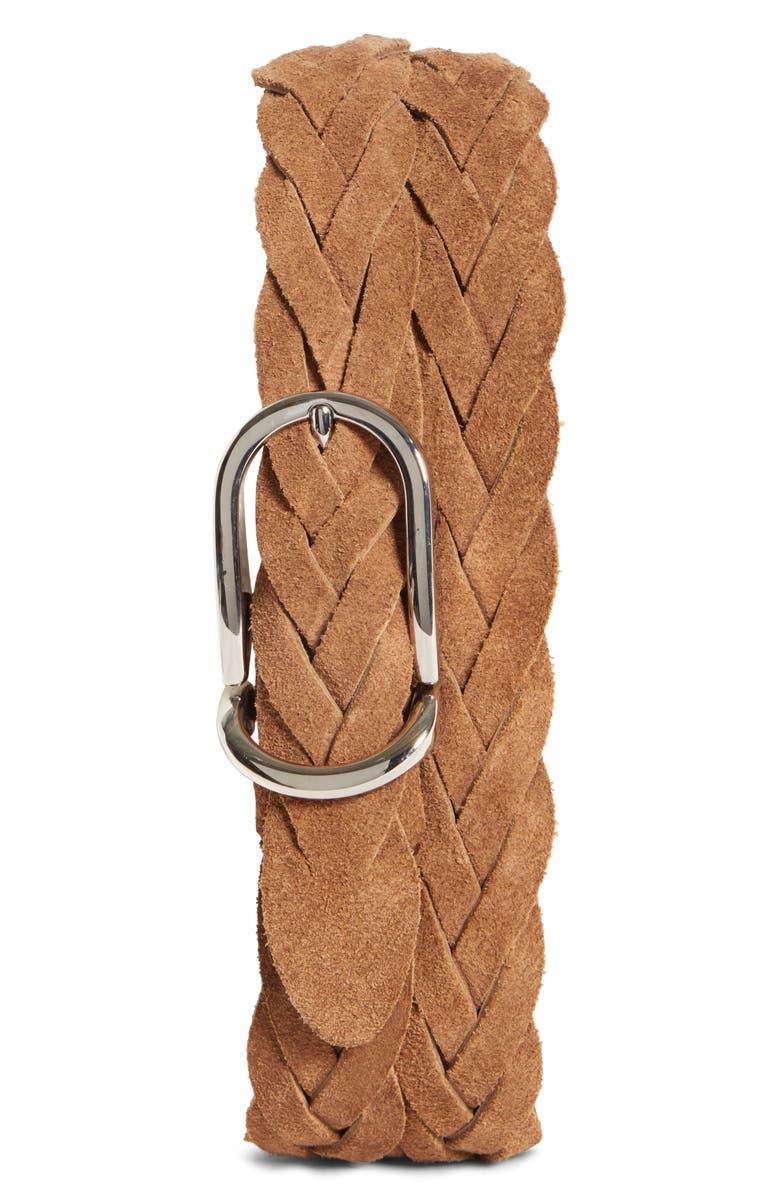 BRUNELLO CUCINELLI Braided Suede Belt, Main, color, 210