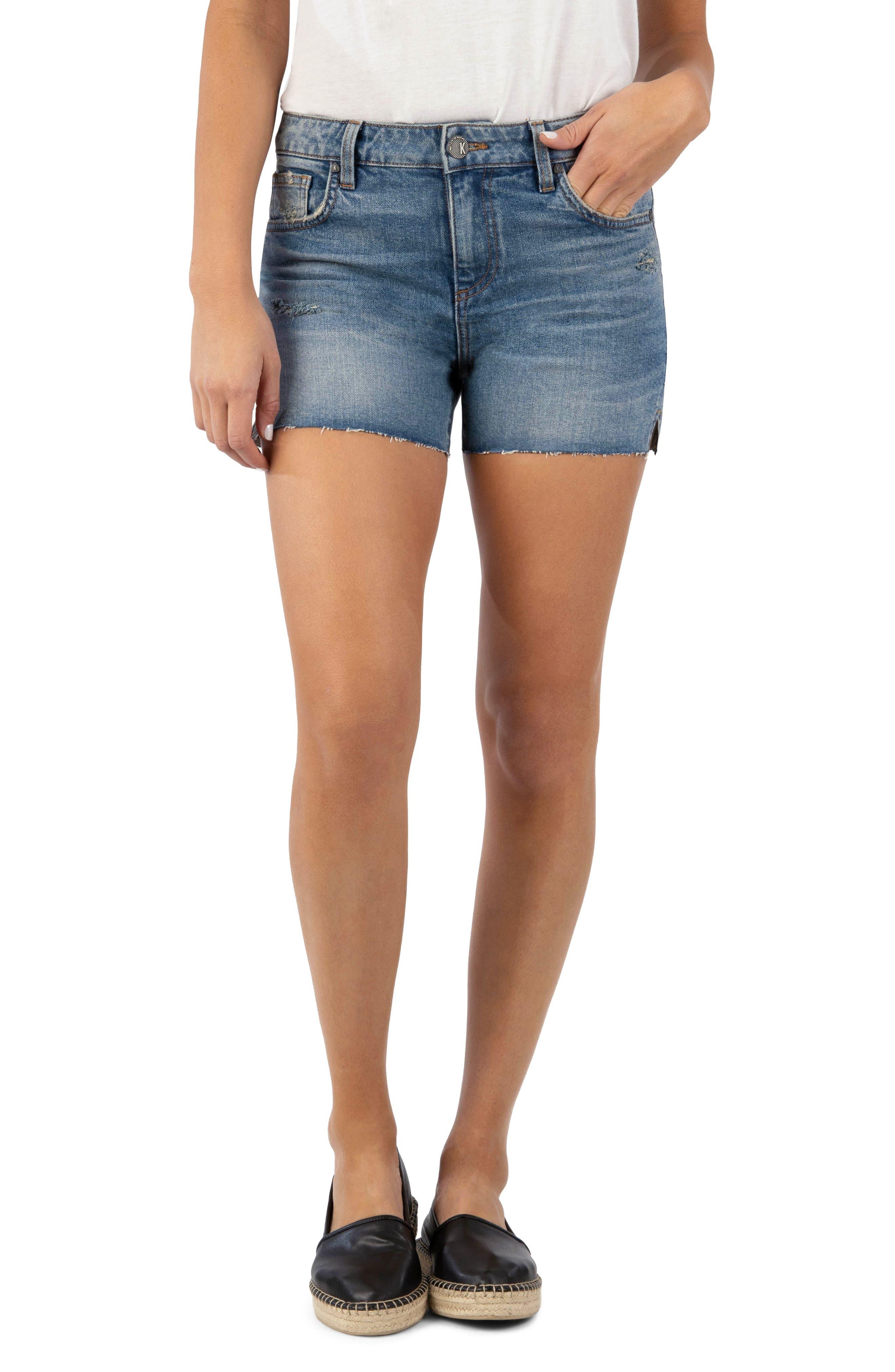 Gidget Distressed High Waist Denim Shorts
