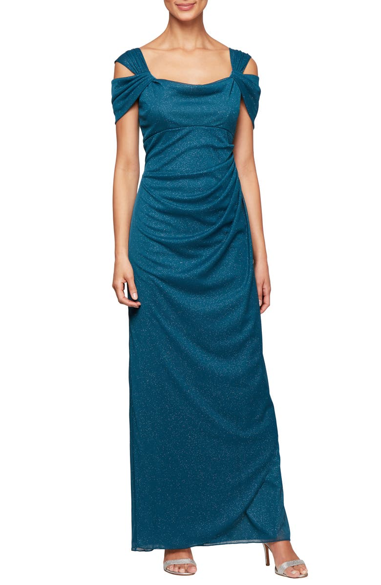 ALEX EVENINGS Cold Shoulder Chiffon Gown, Main, color, PEACOCK