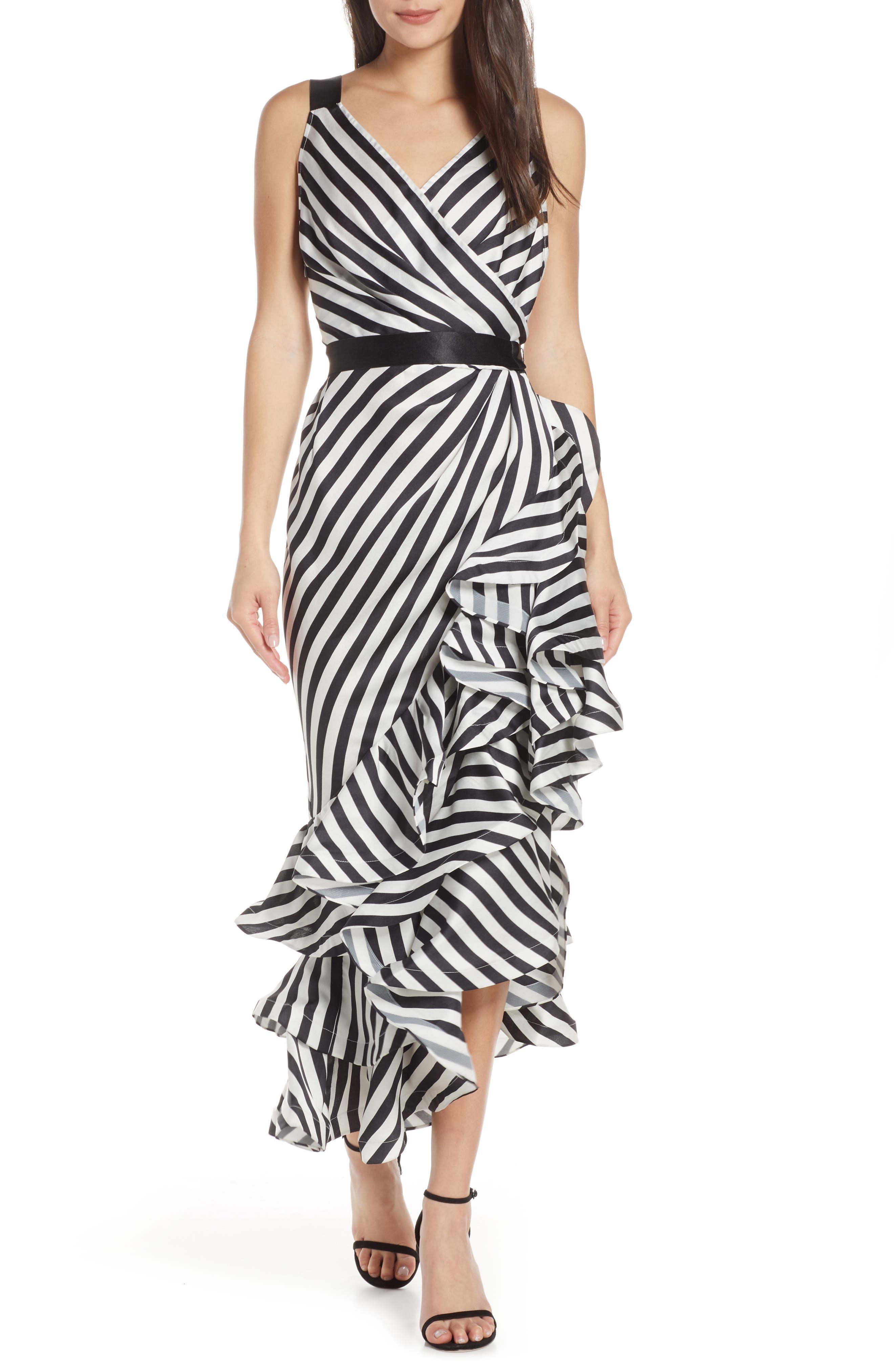 Bronx And Banco Lola Sleeveless Stripe Gown, Black