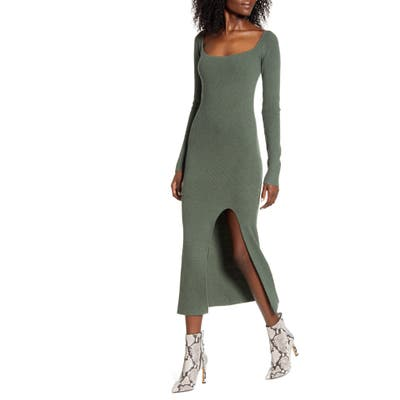 Leith Square Neck Long Sleeve Sweater Dress, Green