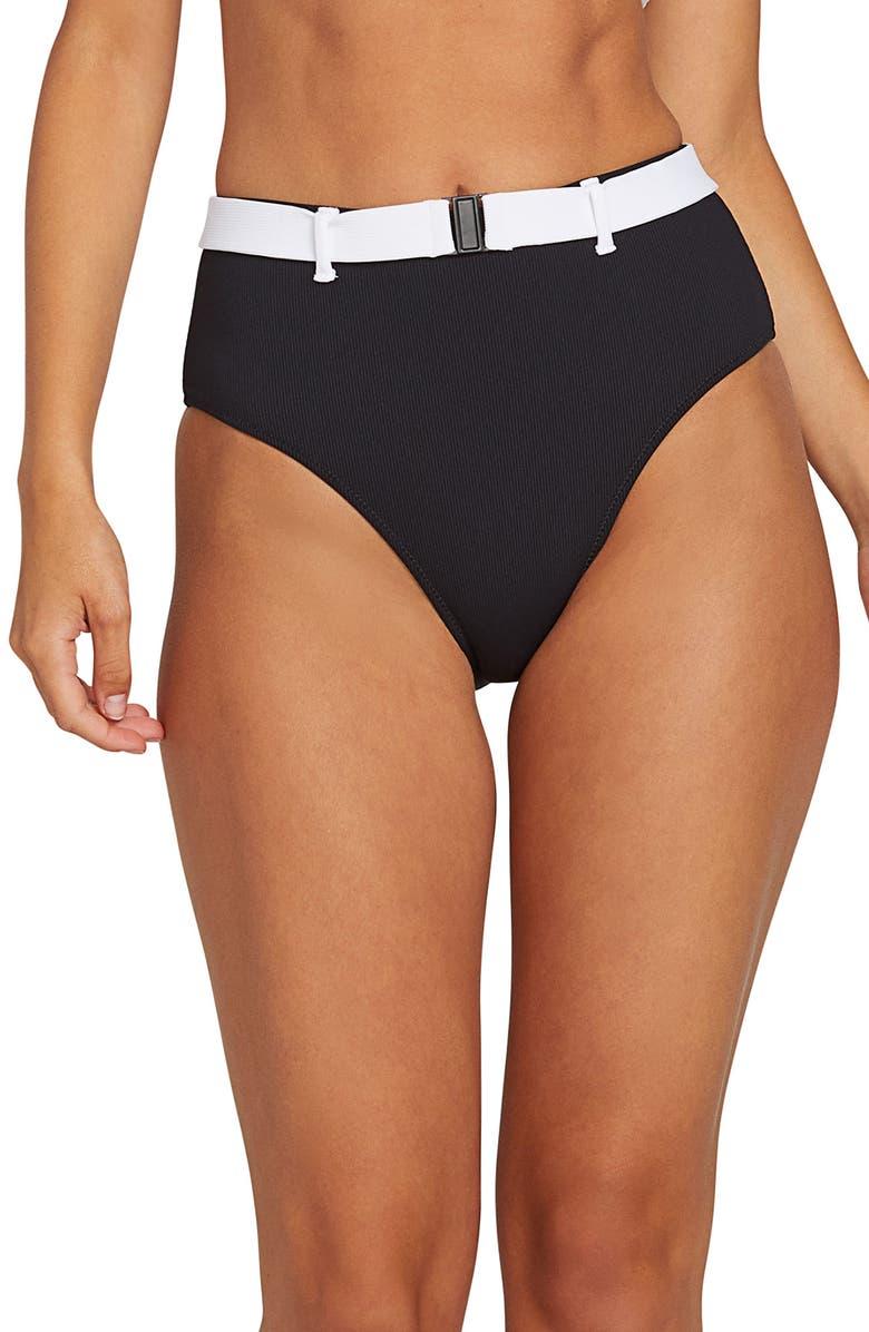 VOLCOM Simply Rib Retro High Waist Bikini Bottoms, Main, color, BLACK