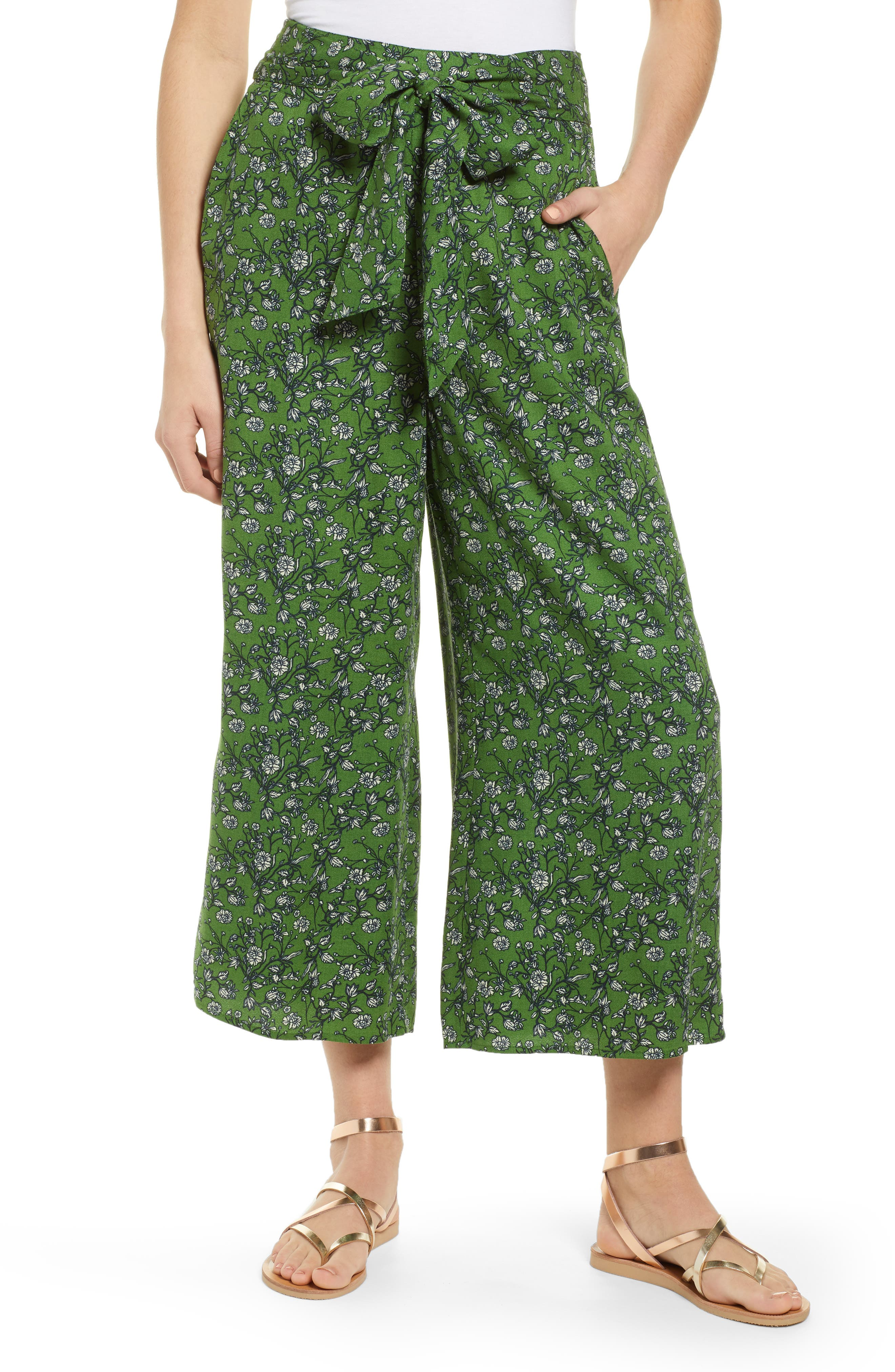 ,                             Print Wide Leg Crop Pants,                             Main thumbnail 1, color,                             GREEN CANOPY FLOWER BRANCHES