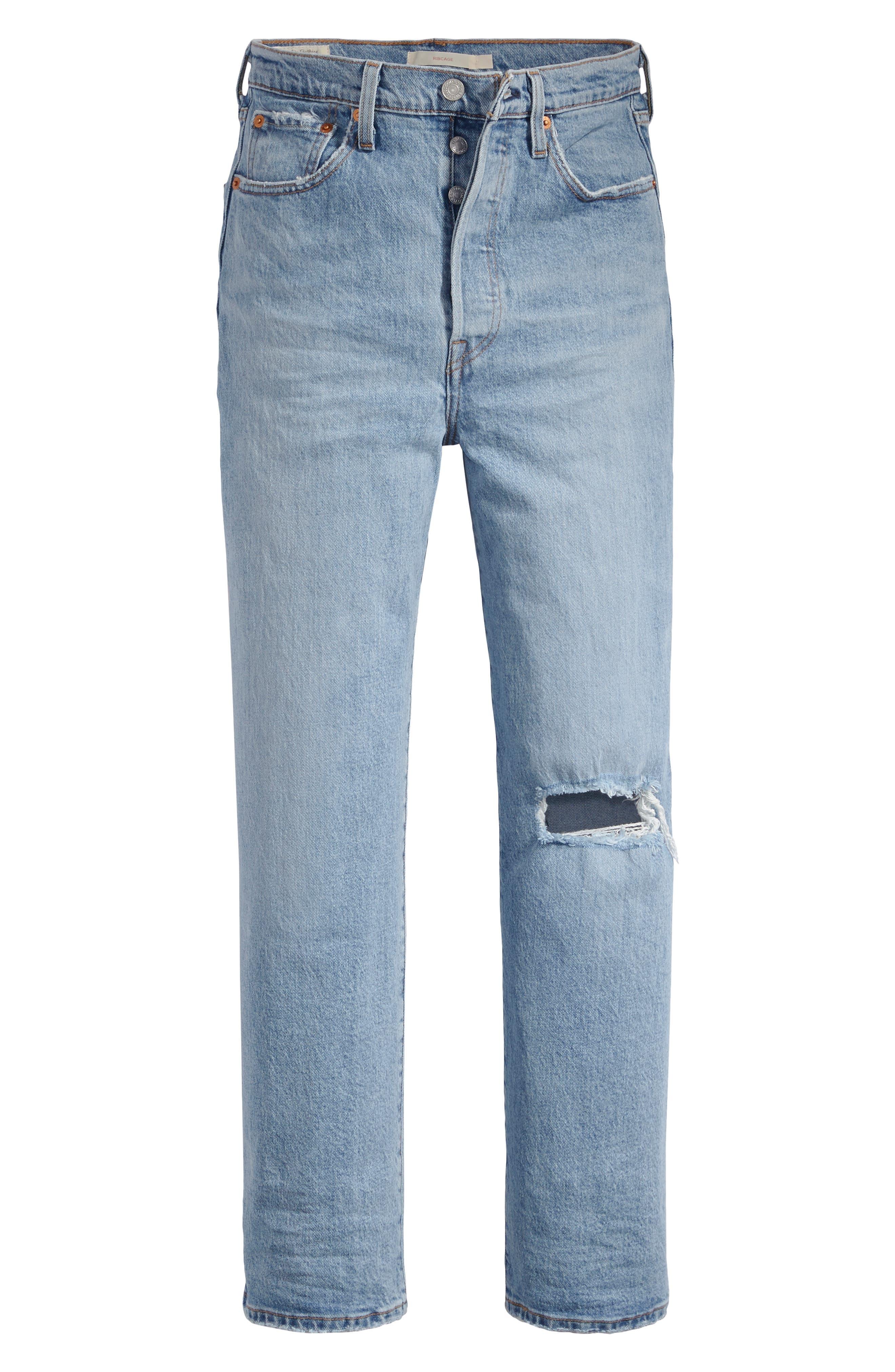 ,                             Ribcage High Waist Straight Leg Jeans,                             Alternate thumbnail 4, color,                             400