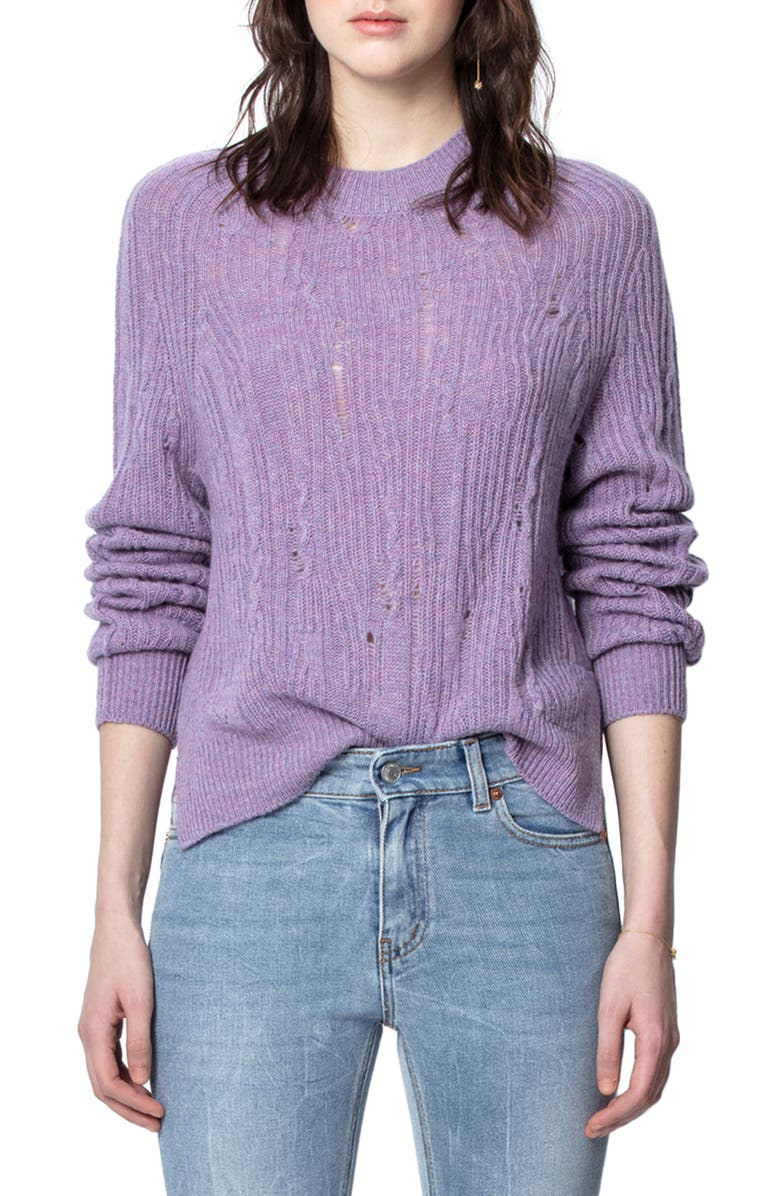 ZADIG & VOLTAIRE Lili C Destroy Sweater, Main, color, 543