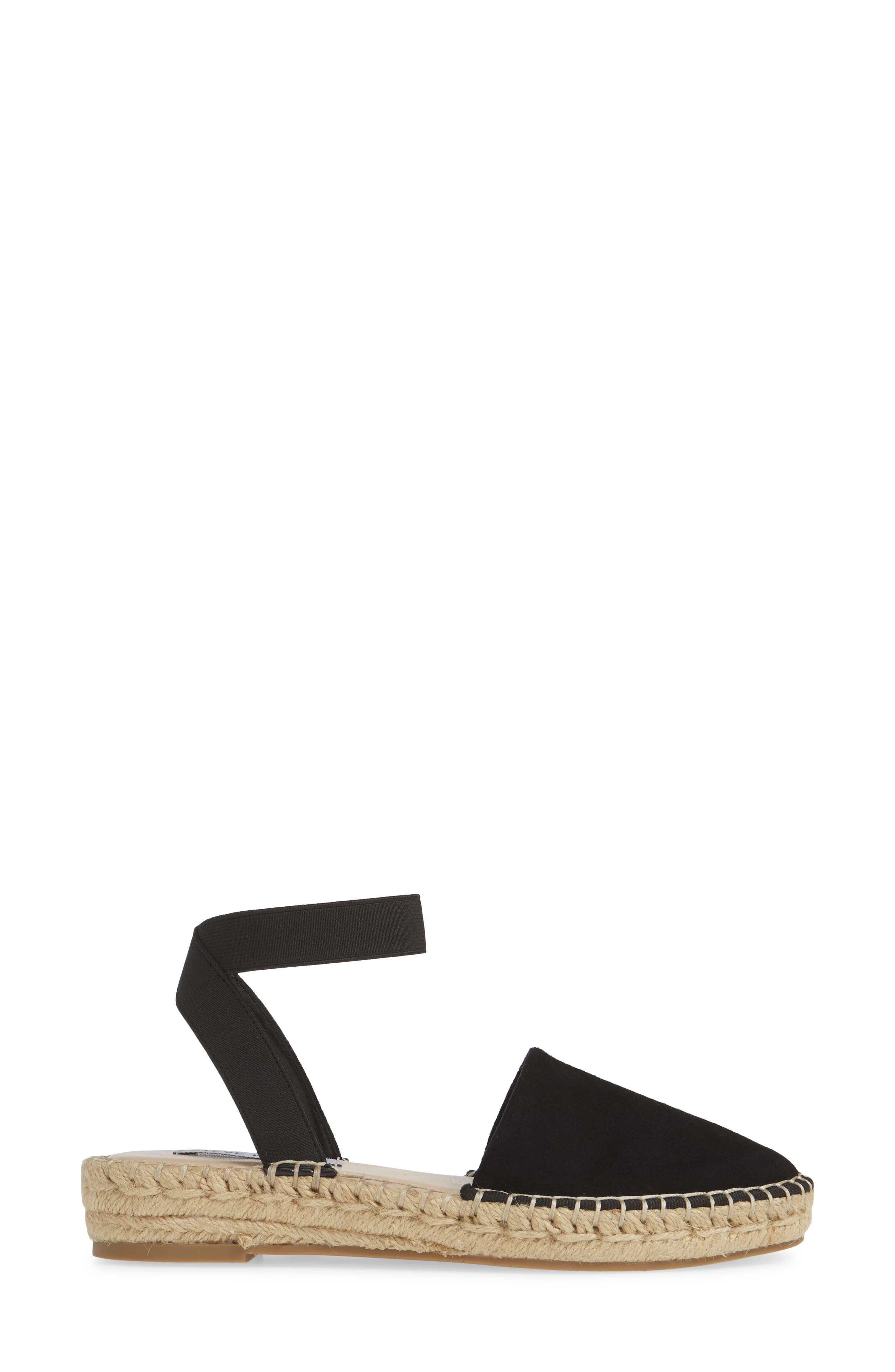 ,                             Moment Strappy Espadrille Sandal,                             Alternate thumbnail 3, color,                             BLACK SUEDE