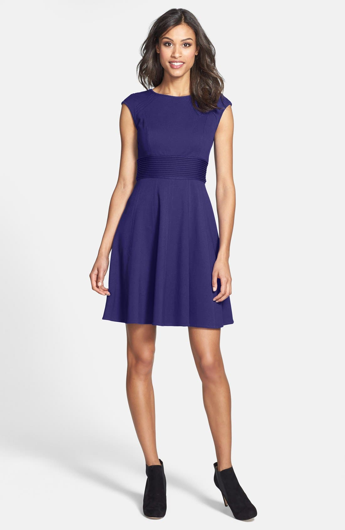 ,                             Pintucked Waist Seamed Ponte Knit Fit & Flare Dress,                             Alternate thumbnail 30, color,                             510