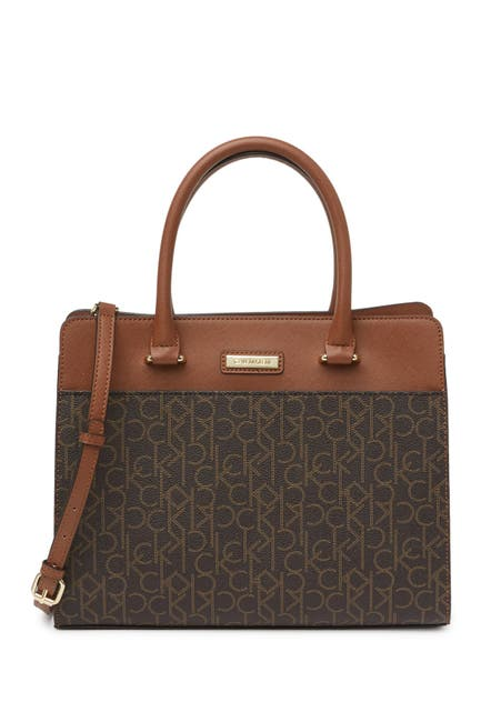 Image of Calvin Klein Leather Signature Triple Compartment Satchel