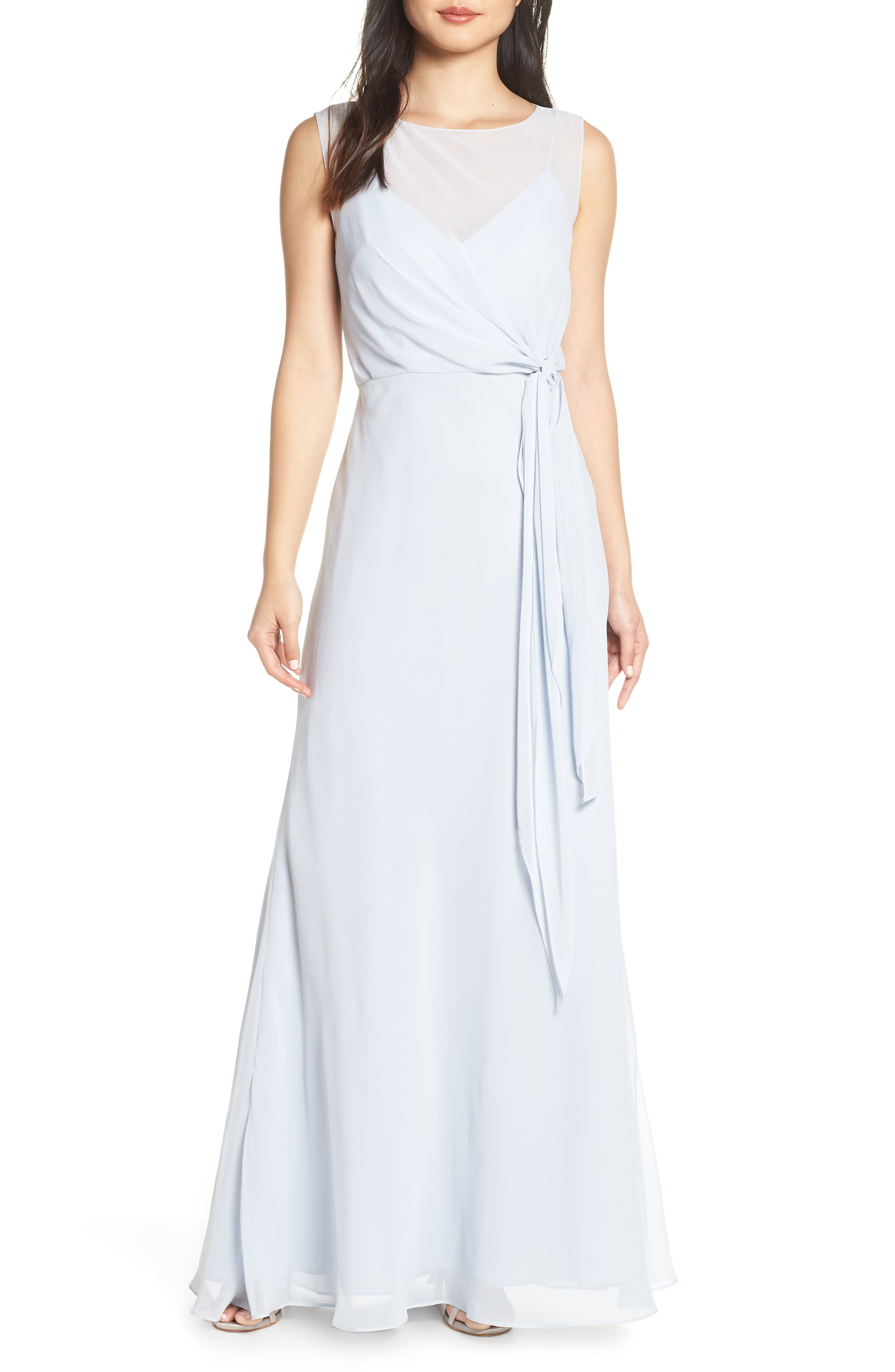 Jenny Yoo Chiffon Overlay Evening Dress, Blue