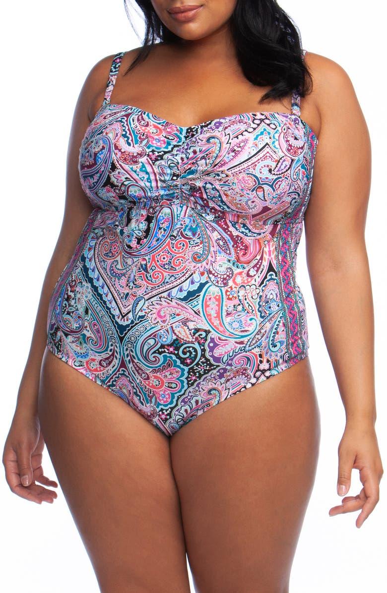 LA BLANCA Swirlin One-Piece Swimsuit, Main, color, BLUE/ GREEN MULTI