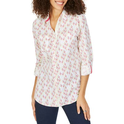 Foxcroft Zoey Dancing Flamingoes Cotton Shirt, White