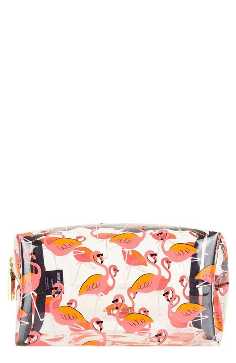 SKINNYDIP Clear Flamingo Makeup Bag, Main, color, NO COLOR