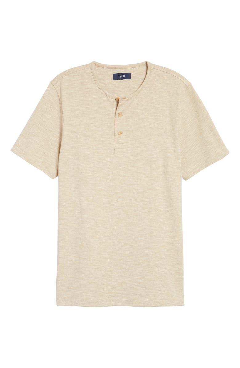 1901 Marl Henley T-Shirt, Main, color, TAN KELP MARL