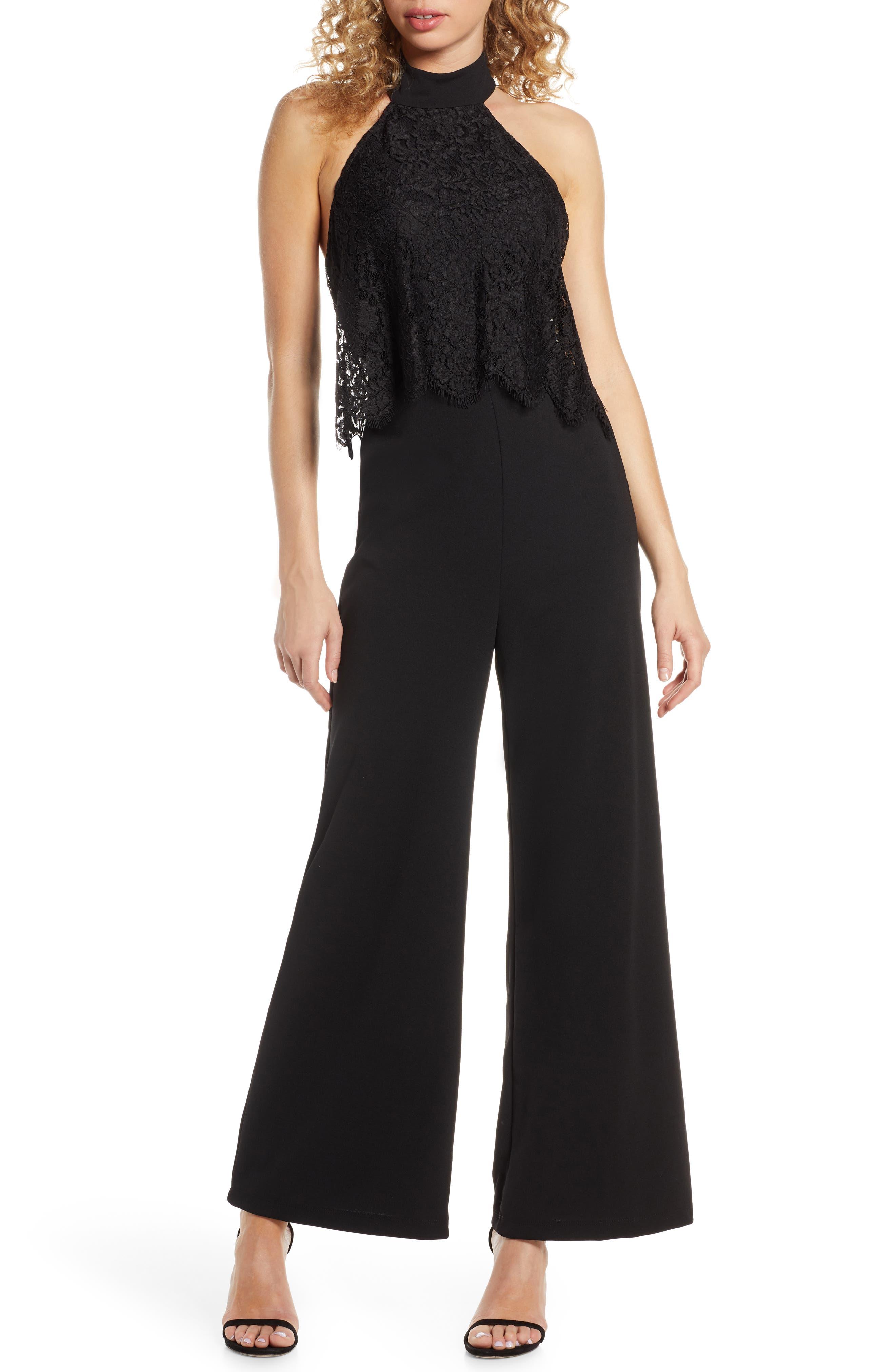 Lulus Lace Popover Wide Leg Jumpsuit, Black