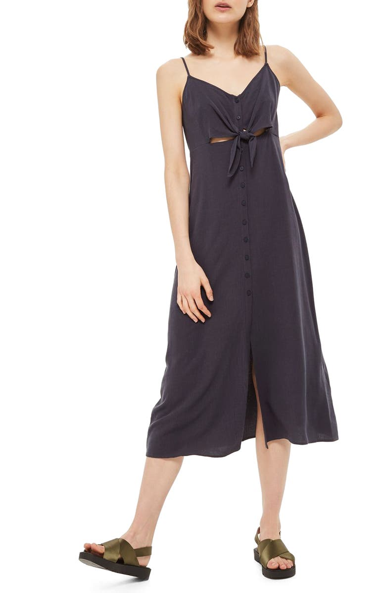 TOPSHOP Knot Front Slipdress, Main, color, 001