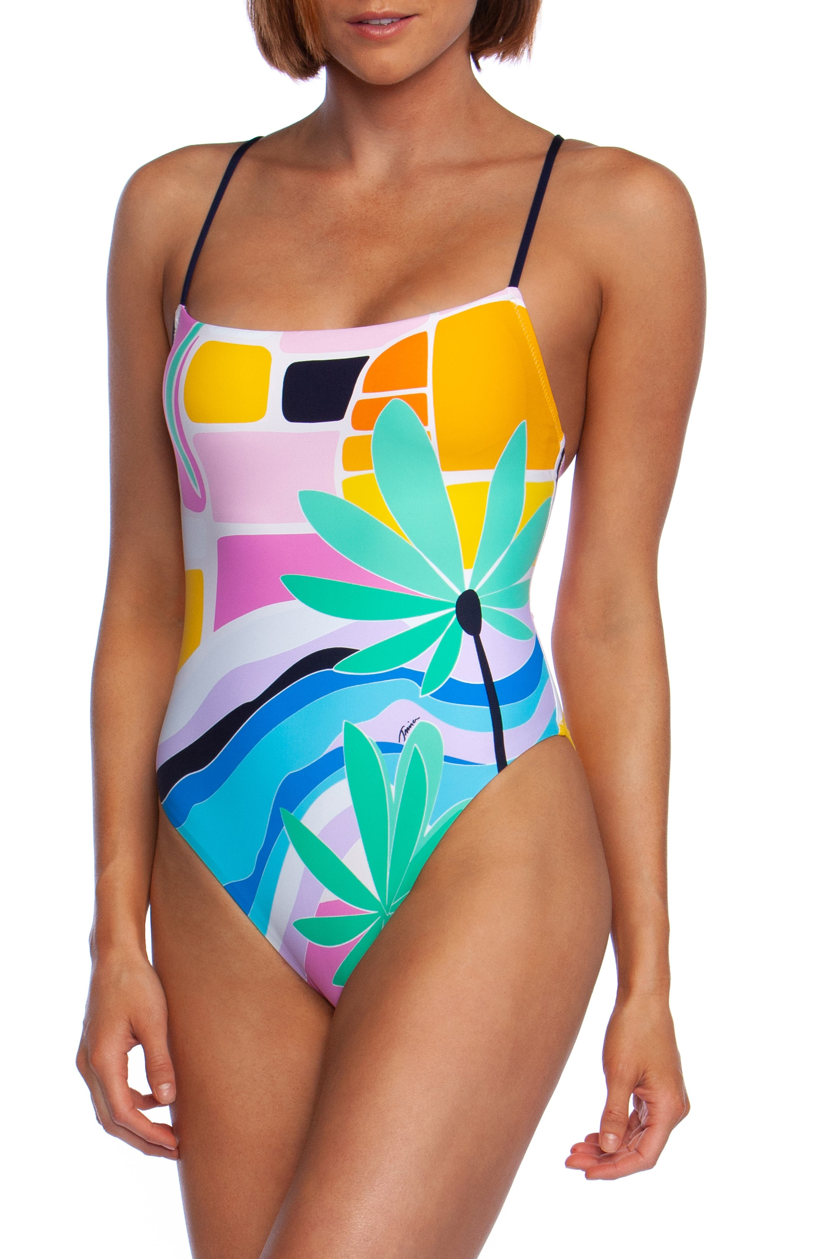 Trina Turk Mosaic Sunrise Mio One-Piece Swimsuit, Pink