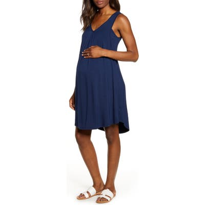Angel Maternity Maternity/nursing Swing Dress, Blue