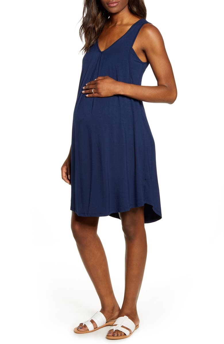 ANGEL MATERNITY Maternity/Nursing Swing Dress, Main, color, NAVY