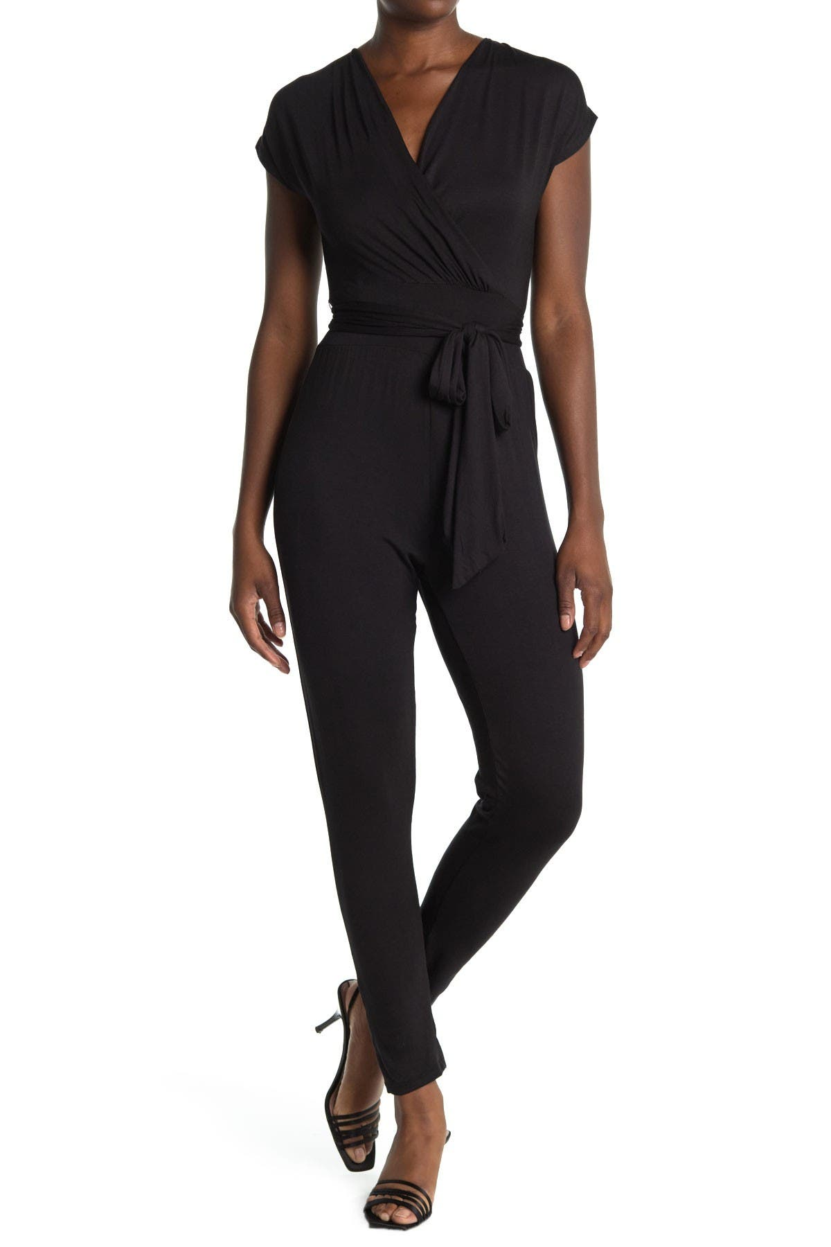 Image of Velvet Torch Belted Cap Sleeve Wrap Jumpsuit