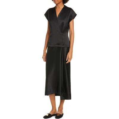 Zero + Maria Cornejo Iro Faux Wrap Midi Dress, Black