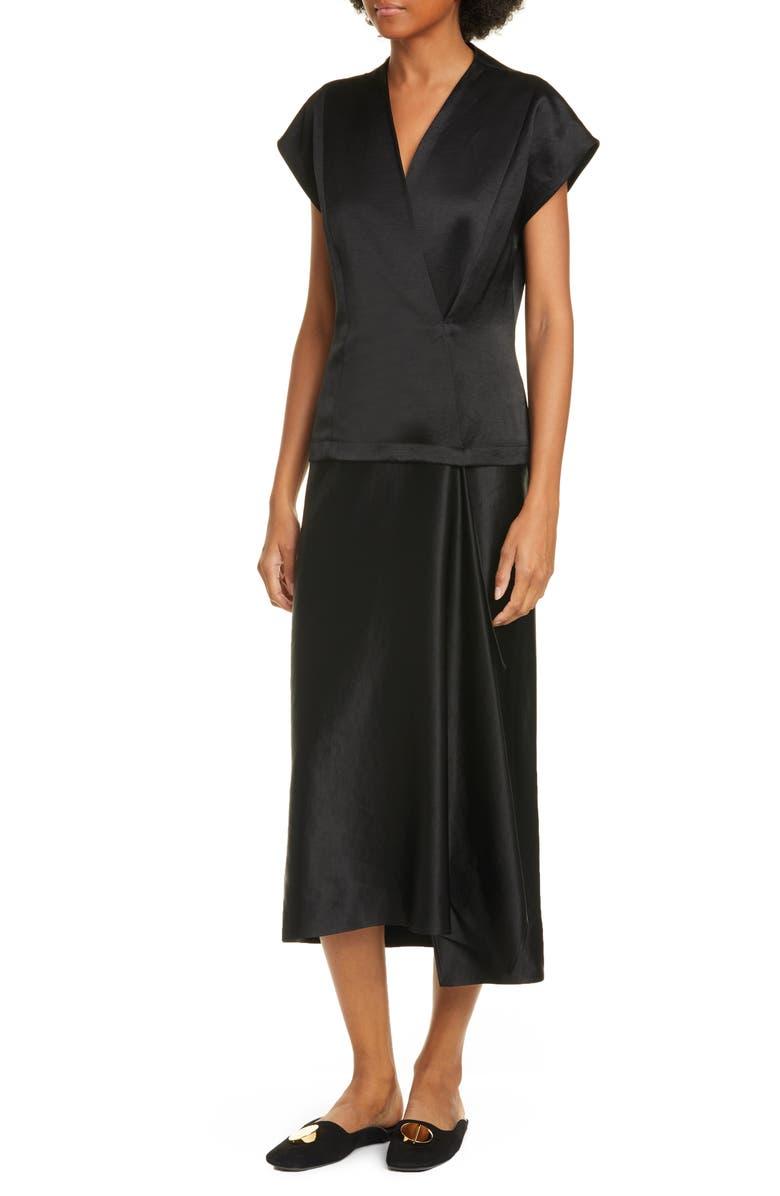 ZERO + MARIA CORNEJO Iro Faux Wrap Midi Dress, Main, color, BLACK