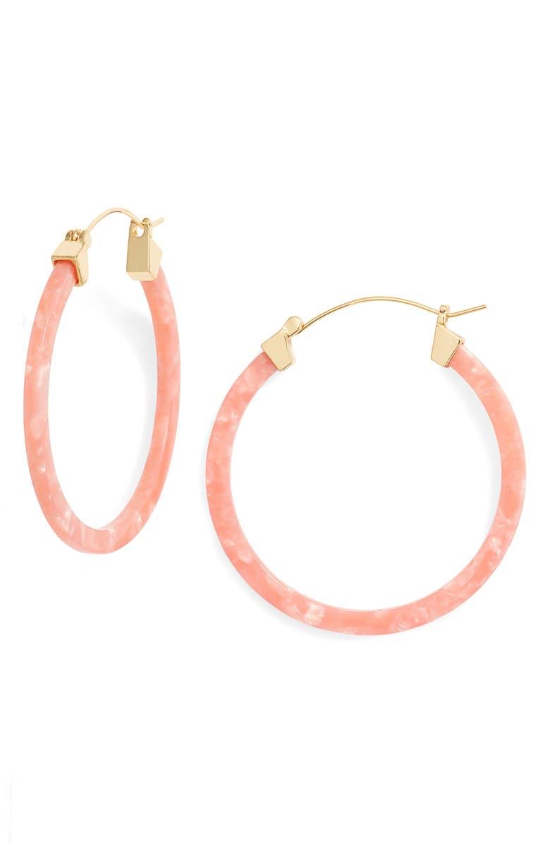 STERLING FOREVER Hoop Earrings, Main, color, CORAL