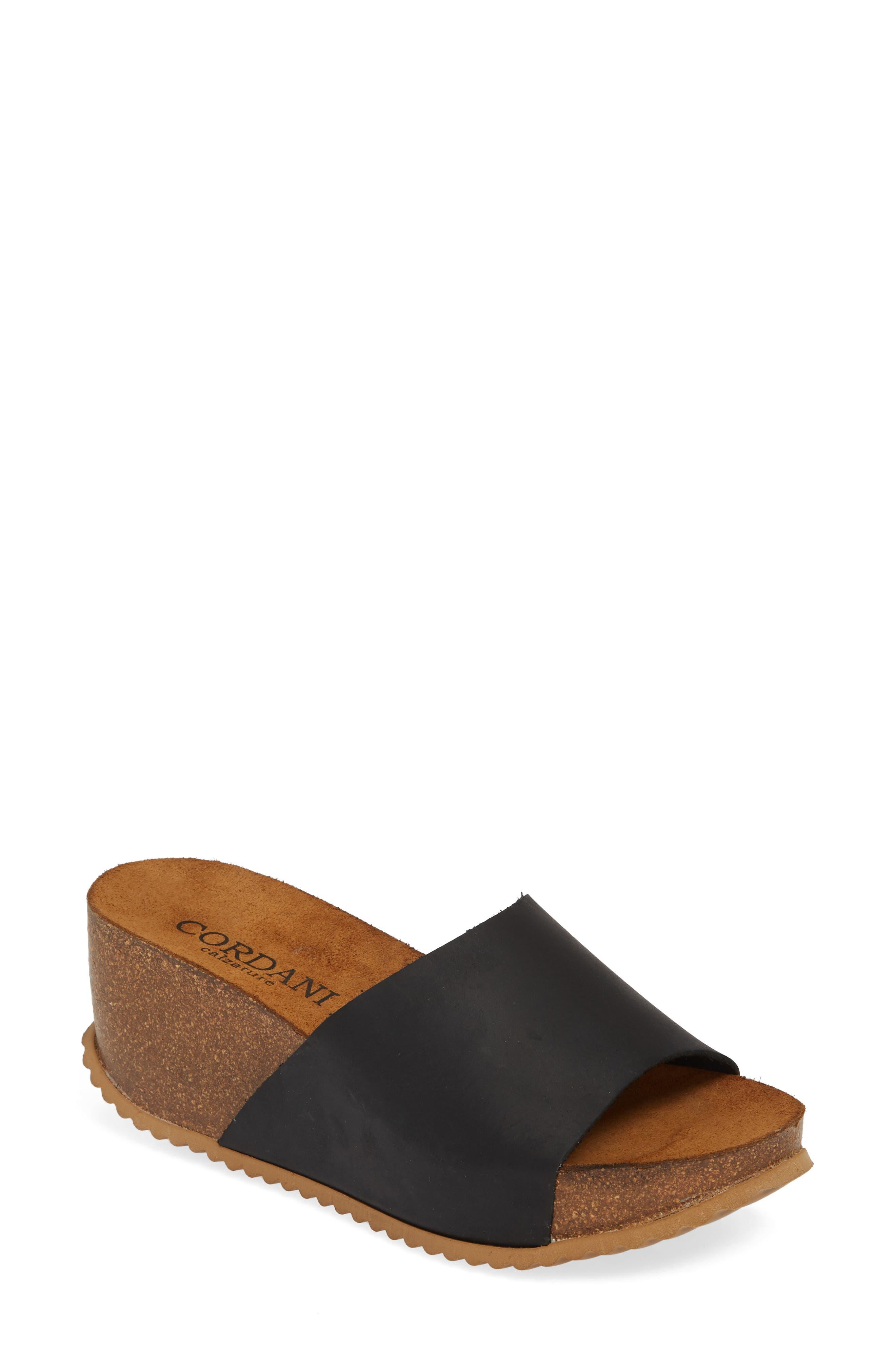 Cordani Margie Wedge Slide Sandal - Black