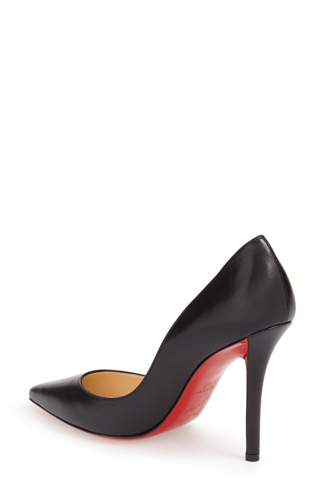 ,                             'Apostrophy' Pointy Toe Pump,                             Alternate thumbnail 3, color,                             BLACK LEATHER