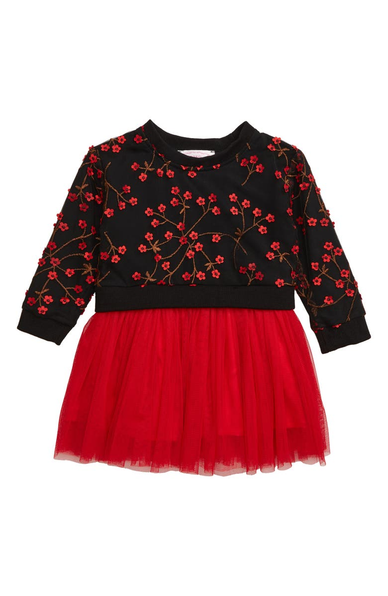 POPATU Floral Appliqué Long Sleeve Tulle Dress, Main, color, RED/ BLACK