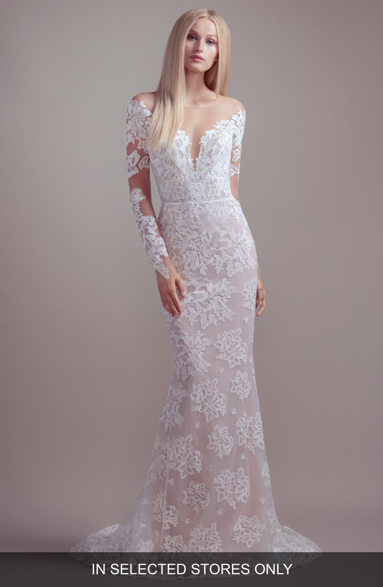 BLUSH BY HAYLEY PAIGE Jameson Off the Shoulder Long Sleeve Lace Wedding Dress, Main, color, IVORY