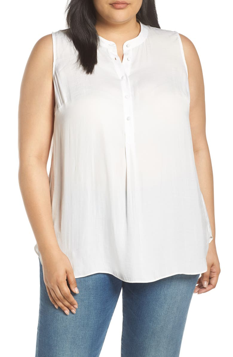 VINCE CAMUTO Rumple Satin Henley Tunic, Main, color, NEW IVORY