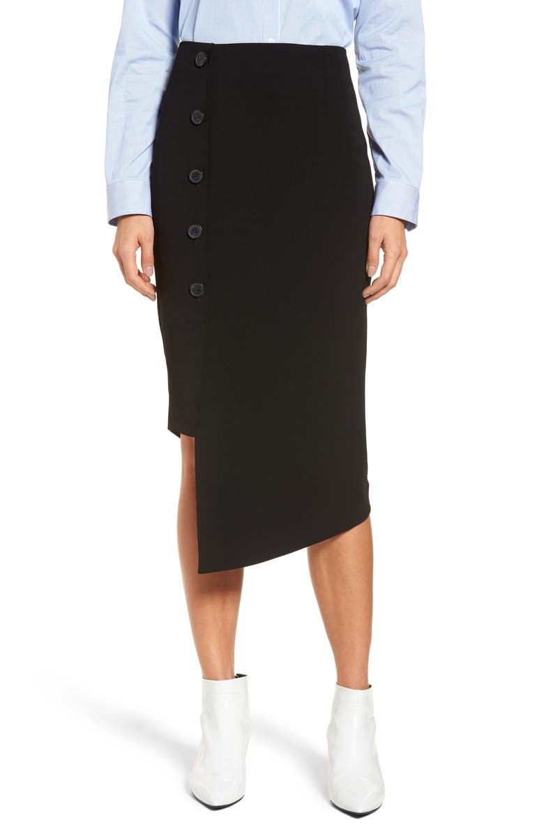 HALOGEN<SUP>®</SUP> Button Detail Asymmetrical Skirt, Main, color, 001